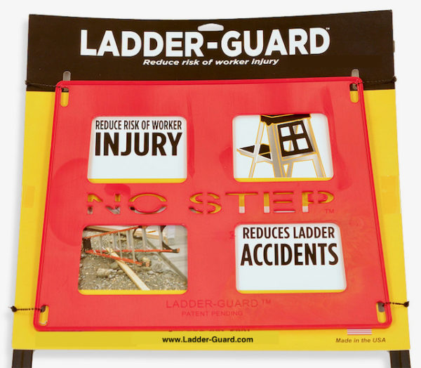 Red ladder safety guard