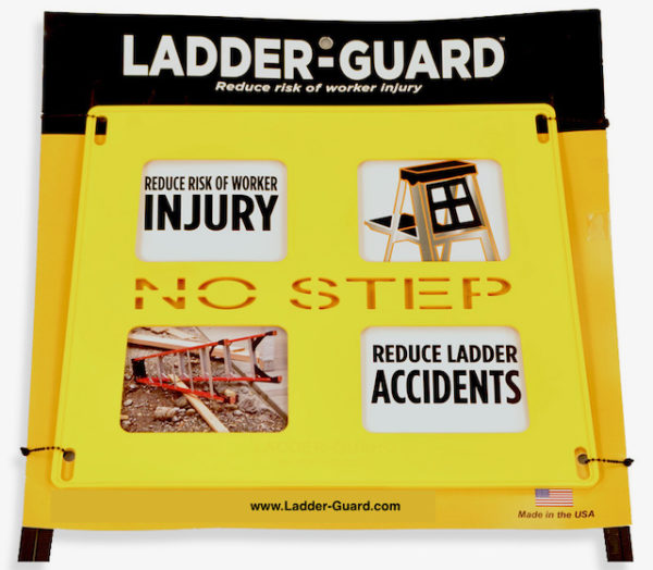 Yellow ladder safety guard